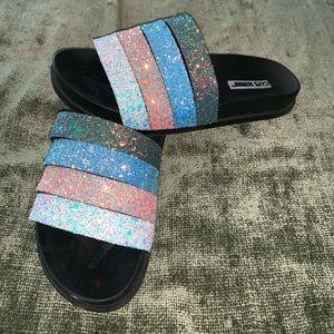 Like new Cape Robbin four strap glitter slides 8